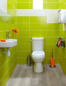 зелёная плитка в туалетет