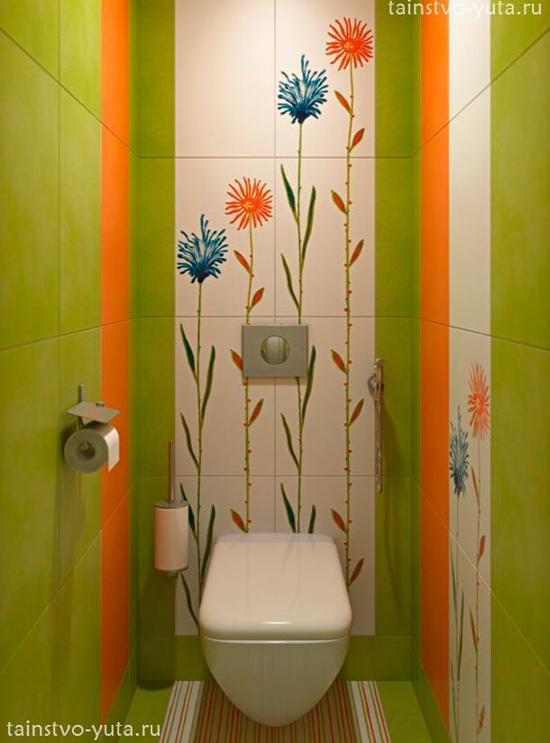 яркая плитка в туалете 2 оранжевая