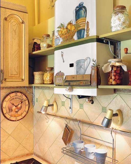 раскрашенная газовая колонка. ремонт кухни с газовой колонкой