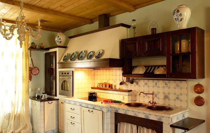 потолок кухни в стиле прованс 1