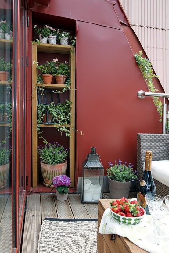 стелажи в стене на балконе -лайфхаки для балкона