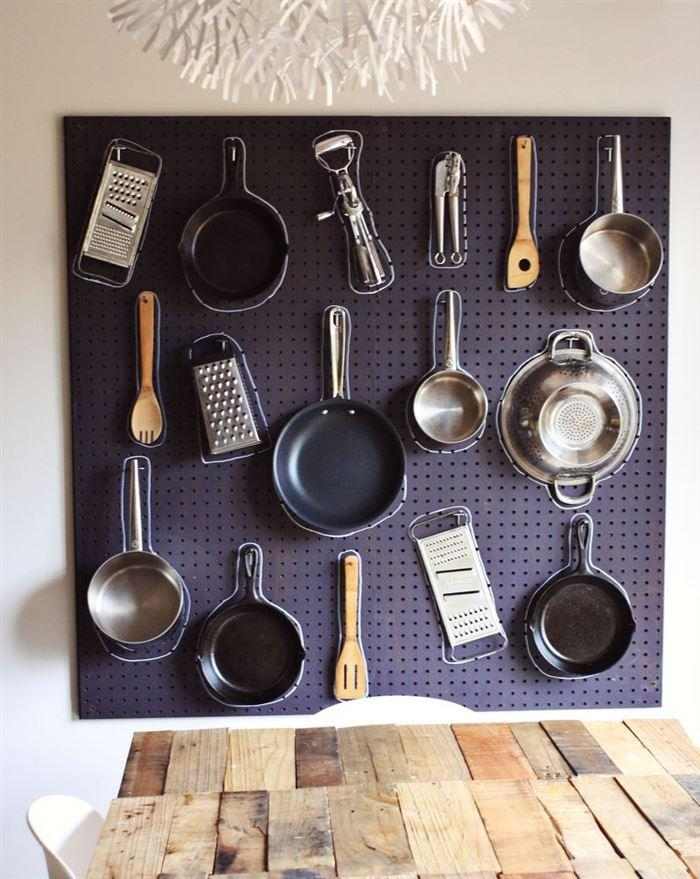 сковородки и кастрюли на стене.лайфхаки для кухни