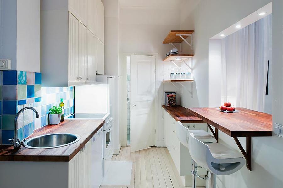 освещение длинной кухни