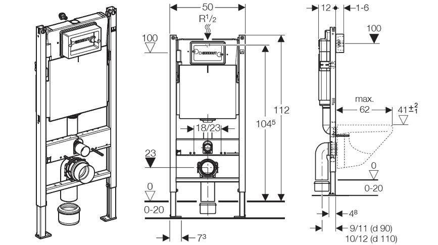 Схема установки инсталляции Геберит